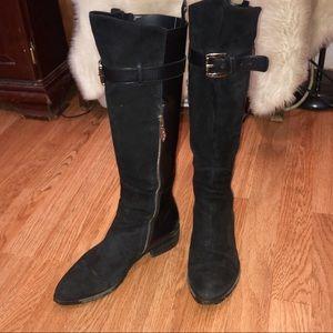 Donald J Pliner Riding Black Leather&Suede Boots-8